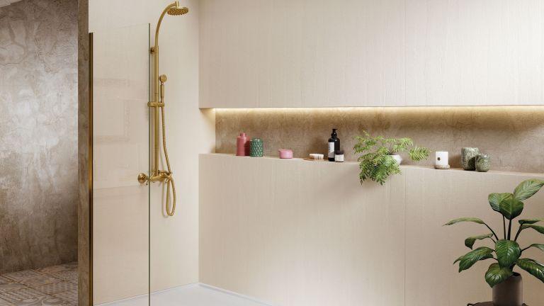 Acquabella Tempo Arabba shower tray in white shown with Arabba wall panels in white