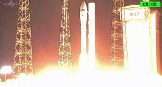 An Arianespace Vega rocket launches the Sentinel-2B Earth observation satellite from Guiana Space Center in Kourou, French Guiana on a mission for the European Space Agency and European Commission in this video still from March 6, 2017.