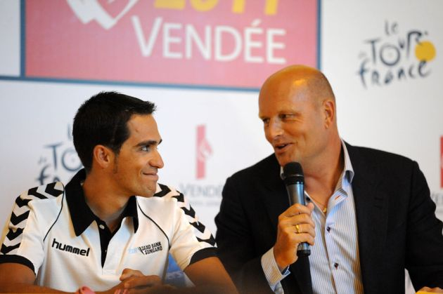 Alberto Contador and Bjarne Riis, Saxo Bank, Tour de France 2011 press conference