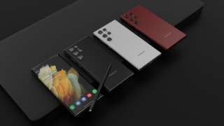 An unofficial render of the Galaxy S22 Ultra, showing the phone's front, and then the back in black, white and burgundy red on a black background