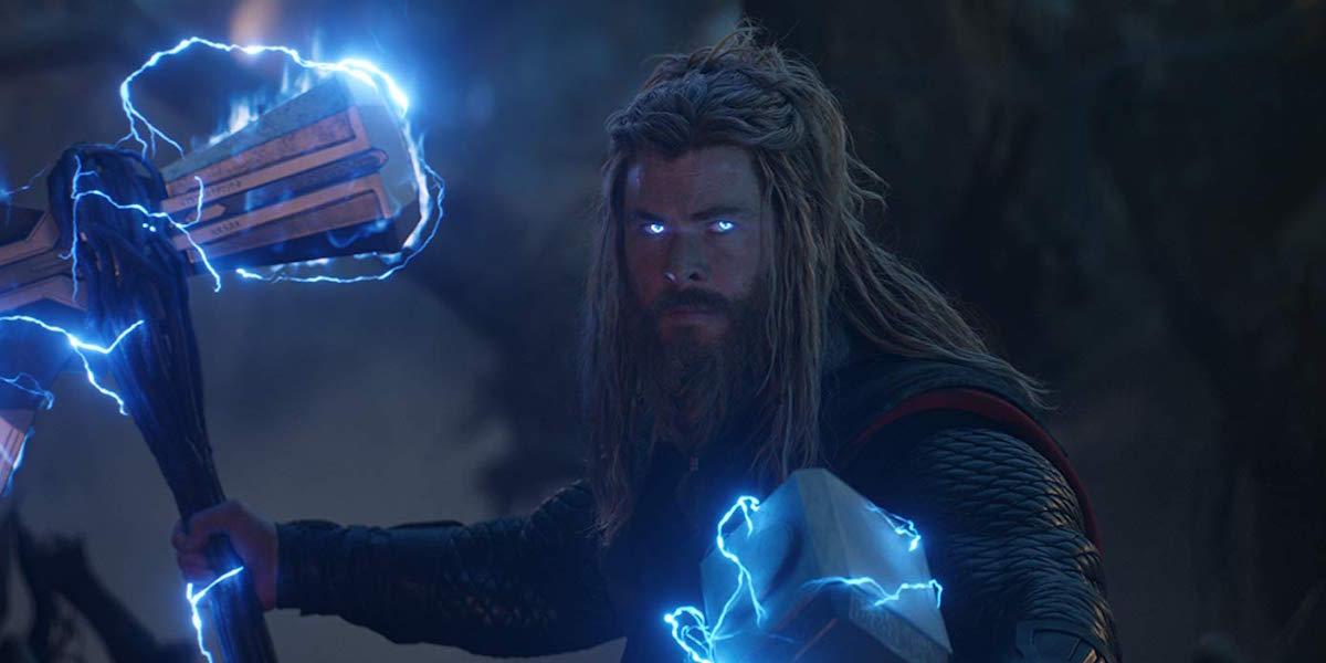 Thor with Stormbreaker and Mjolnir in Avengers: Endgame