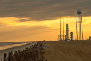 An Orbital Sciences Corp. Antares rocket is seen on launch Pad-0A at NASA's Wallops Flight Facility on Jan. 6, 2014 in advance of a planned Jan. 8 launch in Wallops Island, Va.