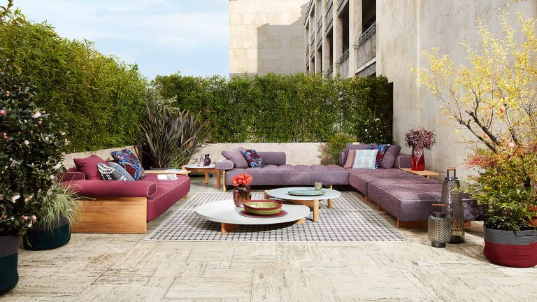 colourful garden furniture ideas: chaplins furniture outdoor sofas on patio