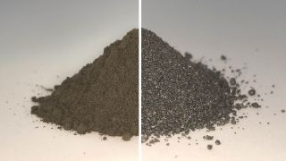 Unprocessed simulated lunar regolith on the left versus the same regolith after oxygen extraction with the FFC Cambridge method.