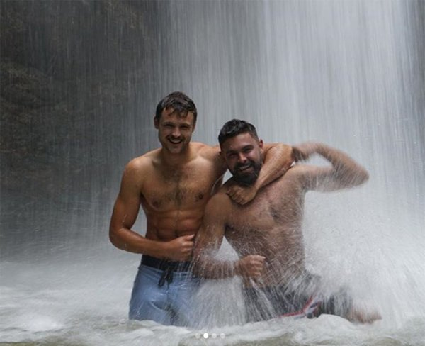 Dylan and Zac Efron in waterfall image from Zac Efron Instagram