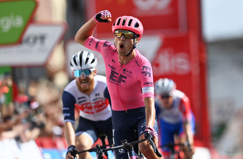 MONFORTE DE LEMOS SPAIN SEPTEMBER 03 Magnus Cort Nielsen of Denmark and Team EF Education Nippo celebrates winning during the 76th Tour of Spain 2021 Stage 19 a 1912 km stage from Tapia to Monforte de Lemos lavuelta LaVuelta21 on September 03 2021 in Monforte de Lemos Spain Photo by Stuart FranklinGetty Images