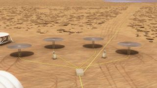 Artist's illustration of a fission power system on the surface of Mars using four 10-kilowatt units.