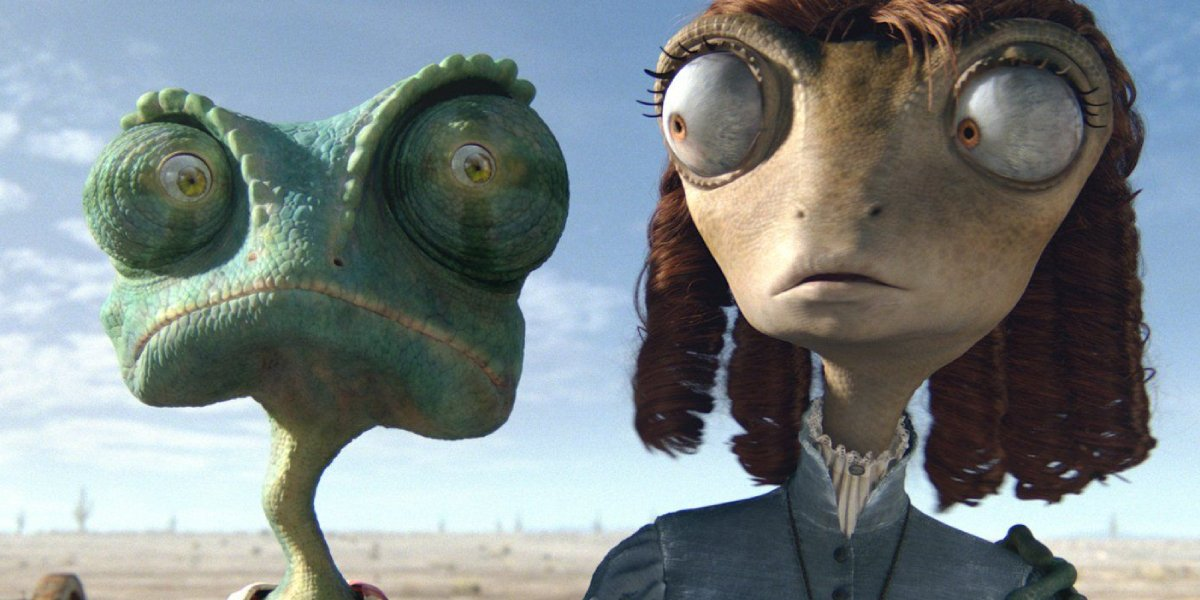 Johnny Depp and Isla Fisher in Rango