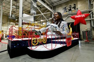"Olay's first Macy's Thanksgiving Day Parade float, titled ""Her Future is STEM-sational,"" features a larger-than-life astronaut and helmet as a nod to the skincare brand's #MakeSpaceForWomen campaign."