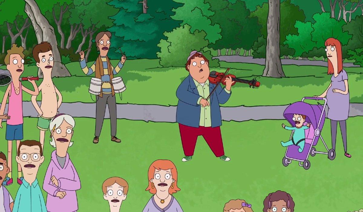 Central Park Birdie plays violin with singing park goers