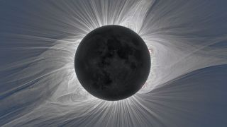 The sun's tenuous corona shines brightly during a total solar eclipse.