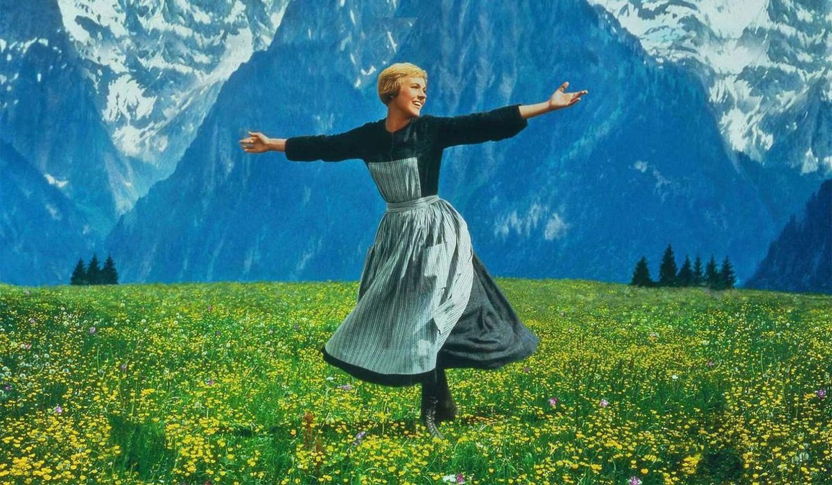 The Sound of Music Julie Andrews dances among the flowers and mountains
