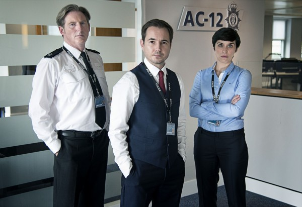 Adrian Dunbar, Martin Compston and Vicky McClure in Line of Duty (Steffan Hill/BBC/World Productions)