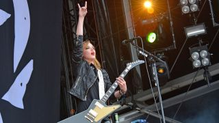 Lzzy Hale onstage at a European festival