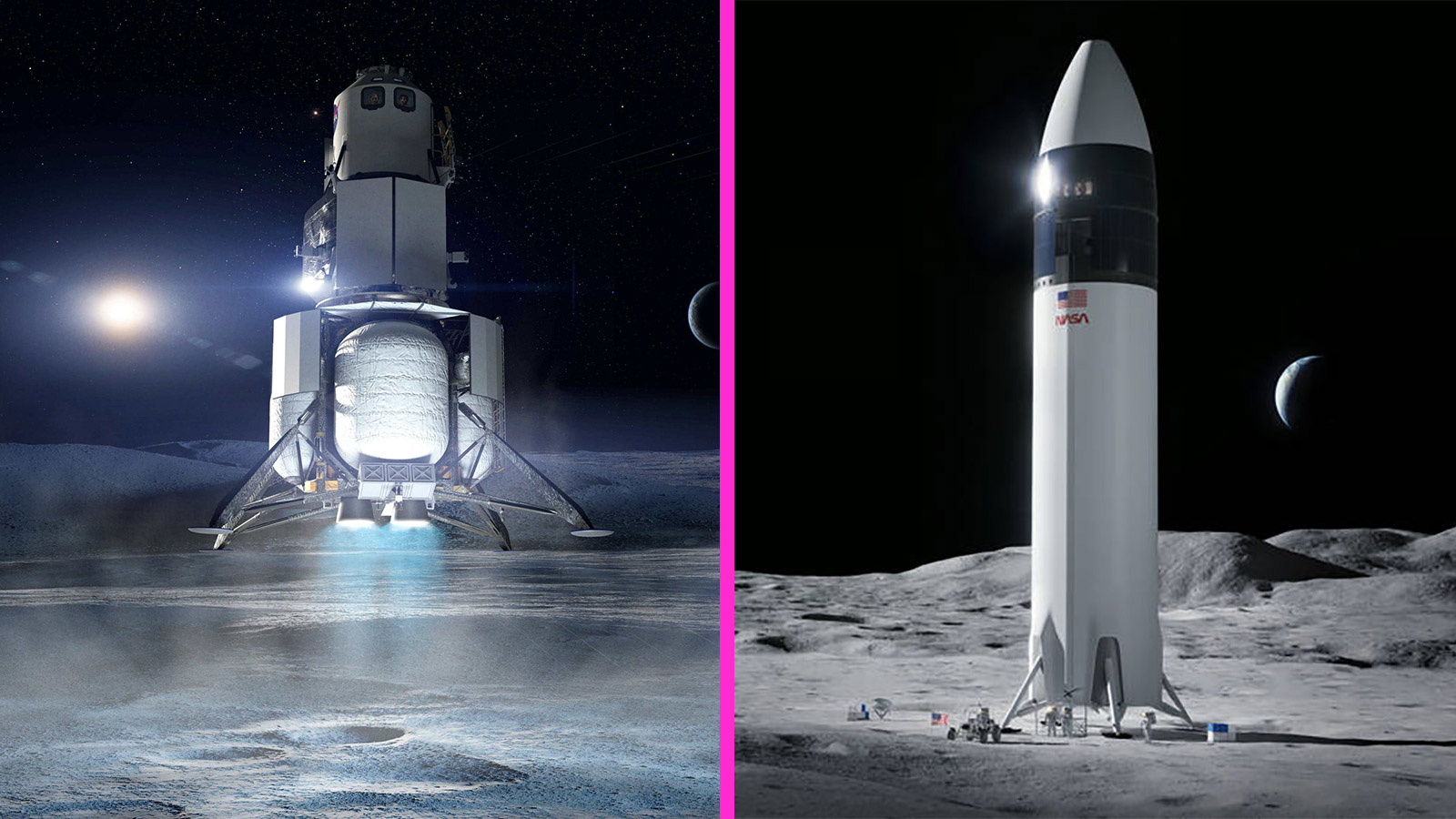 Side-By-Side Comparison Of SpaceX And Blue Origin's Proposed Lunar Landers Touching Down On The Surface Of The Moon