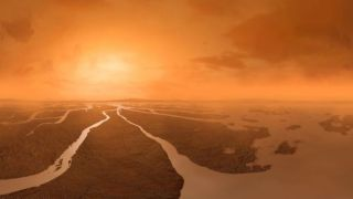 An illustration depicts Titan's dense yellowish atmosphere above a river of methane on the moon surface