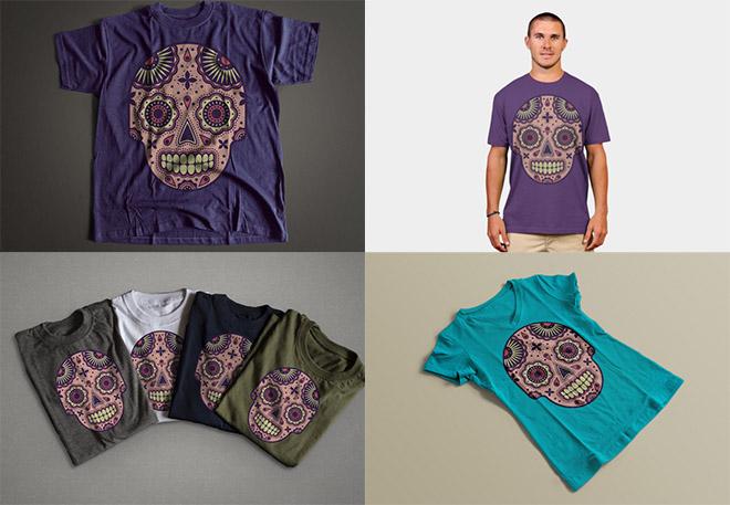 Skull illustration on several T-shirts
