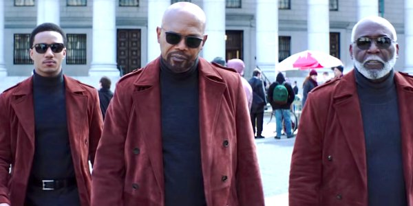 Shaft Jessie T. Usher Samuel L. Jackson and Richard Roundtree walking around in sunglasses, looking