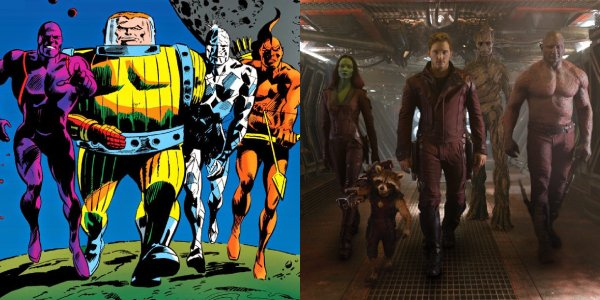 The Guardians of the Galaxy (circa 2017) assembled side-by-side