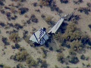 Wreckage from Virgin Galactic's SpaceShipTwo spacecraft is seen after the vehicle crashed on Oct. 31, 2014 during a test flight out of the Mojave Air and Space Port in California.