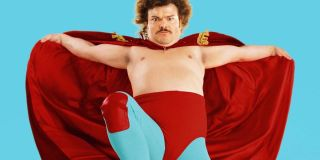 Nacho Libre Jack Black leaping into action in costume