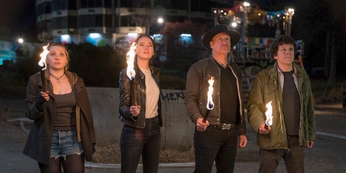 Woody Harrelson, Jesse Eisenberg, Emma Stone, and Abigail Breslin in Zombieland: Double Tap
