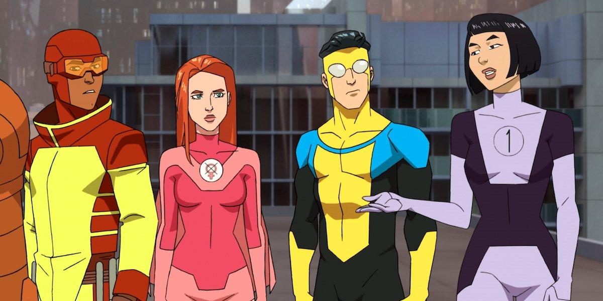invincible, atom eve, dupli-kate and rex splode in costume in amazon's invincible