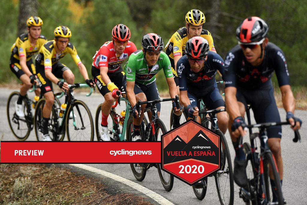 Primoz Roglic and Richard Carapaz ride in peloton on stage 16 of Vuelta a España
