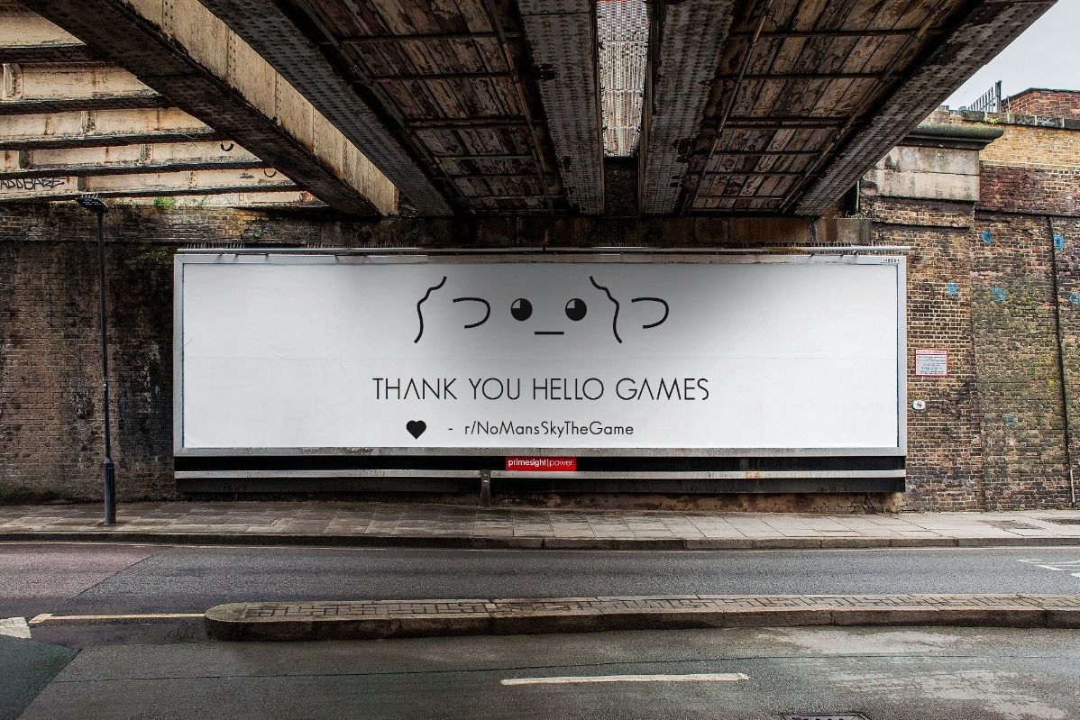 No Man's Sky players are crowdfunding a billboard thanking Hello Games and putting it right outside the studio