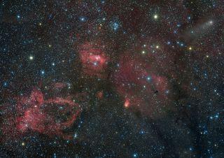 Comet Lemmon, M52, Bubble Nebula, Lobster Claw Nebula by Hancock