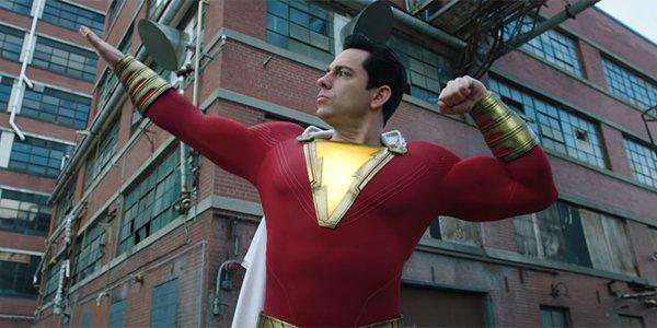 Zachary Levi as Shazam striking a pose