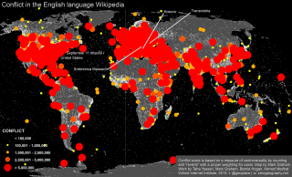 Map of conflict in English language Wikipedia