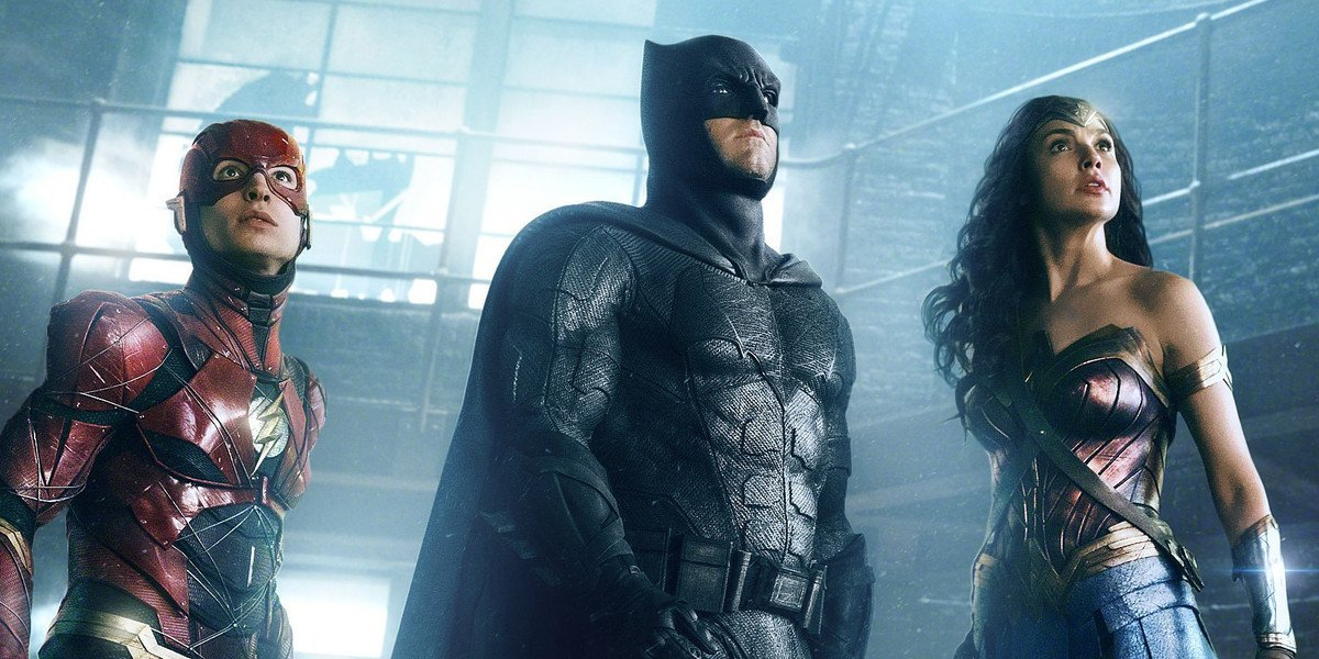 Ezra Miller, Ben Affleck and Gal Gadot in Justice League.