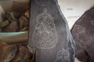 Initial sketches for murals supposedly discovered by Mellaart atÇatalhöyük. Engraved on schist, these sketches were also found in Mellaart's apartment.