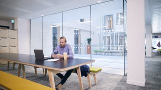 An open meeting space in an office