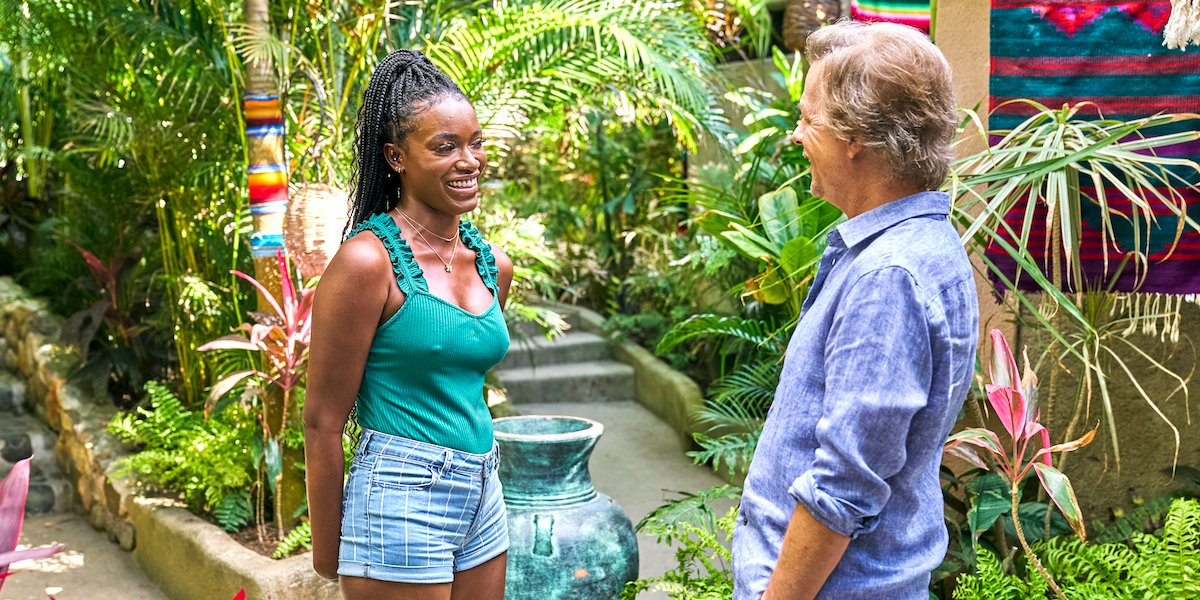Tahzjuan Hawkins is welcomed to Bachelor in Paradise by David Spade.