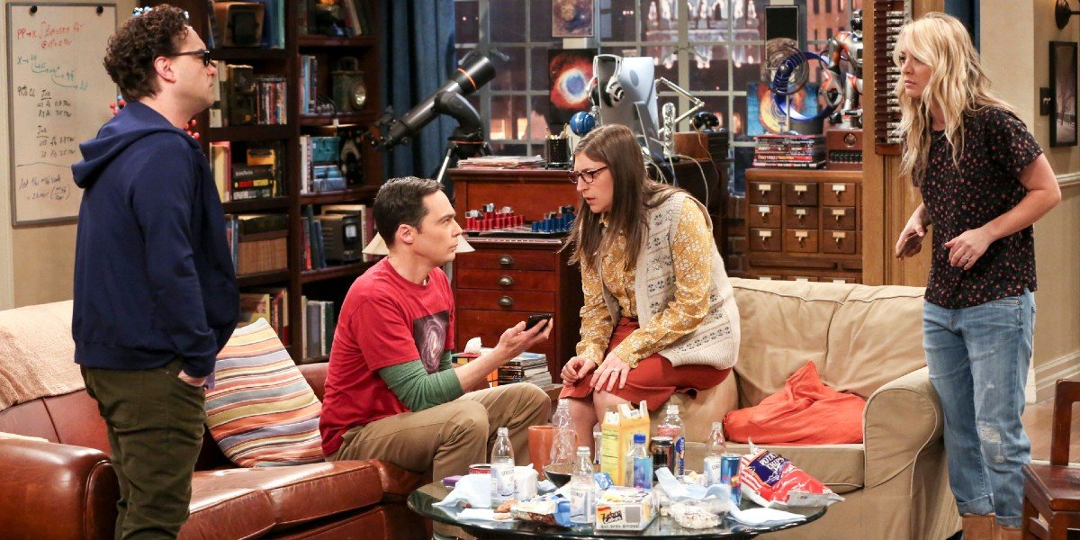Kaley Cuoco, Jim Parsons, Johnny Galecki,  and Mayim Bialik in The Big Bang Theory