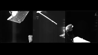 BepiColombo snapped these three selfies in space on June 17, 2019. The first photo features one of the solar arrays on a component of the spacecraft called the Mercury Transfer Module. The other two show the medium-gain antenna (middle) and high-gain antenna (right) attached to the Mercury Planetary Orbiter.