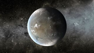 The artist's concept depicts Kepler-62f, a super-Earth exoplanet in the habitable zone of a star smaller and cooler than the sun, located about 1,200 light-years from Earth in the constellation Lyra.