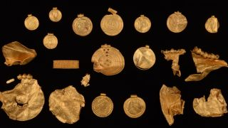 The sixth-century hoard contained many gold artifacts with elaborate designs.
