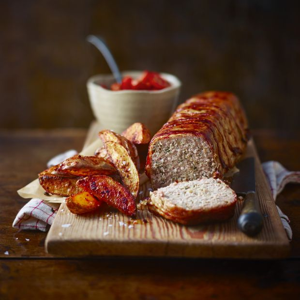 Meatloaf With Tomato Sauce And Spiced Oven Chips Recipe