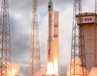 An Arianespace Vega rocket carries ESA's IXV space plane to space for a 100 minute test on Feb. 11, 2015.
