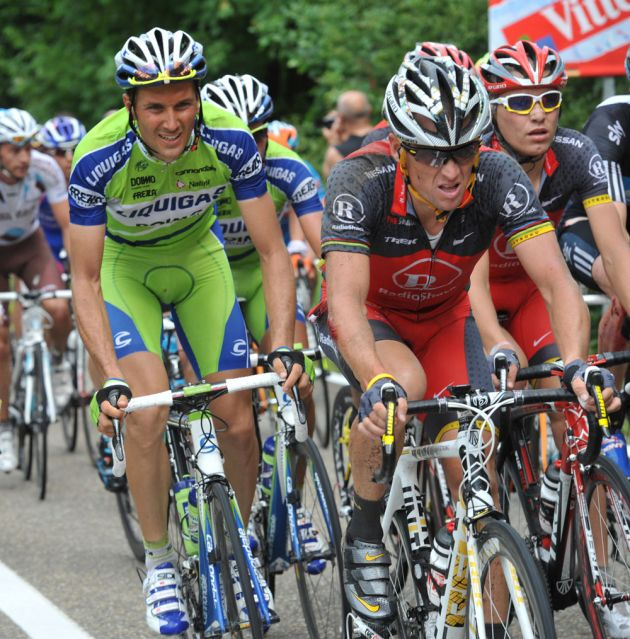 Ivan Basso and Lance Armstrong, Tour de France 2010 stage 2