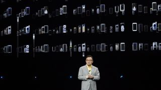Samsung's DJ Koh at a Galaxy Unpacked event