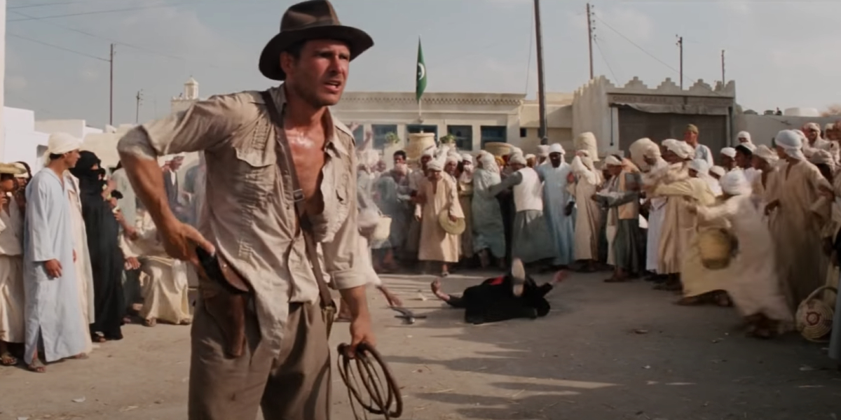 Harrison Ford as Indiana Jones after shooting a swordsman in Raiders of the Lost Ark
