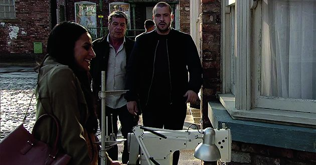 Johnny Connor and Aidan Connor see Alya Nazir and Beth Sutherland taking delivery of a second-hand sewing machine. Johnny recognises it as one stolen from Underworld in Coronation Street.