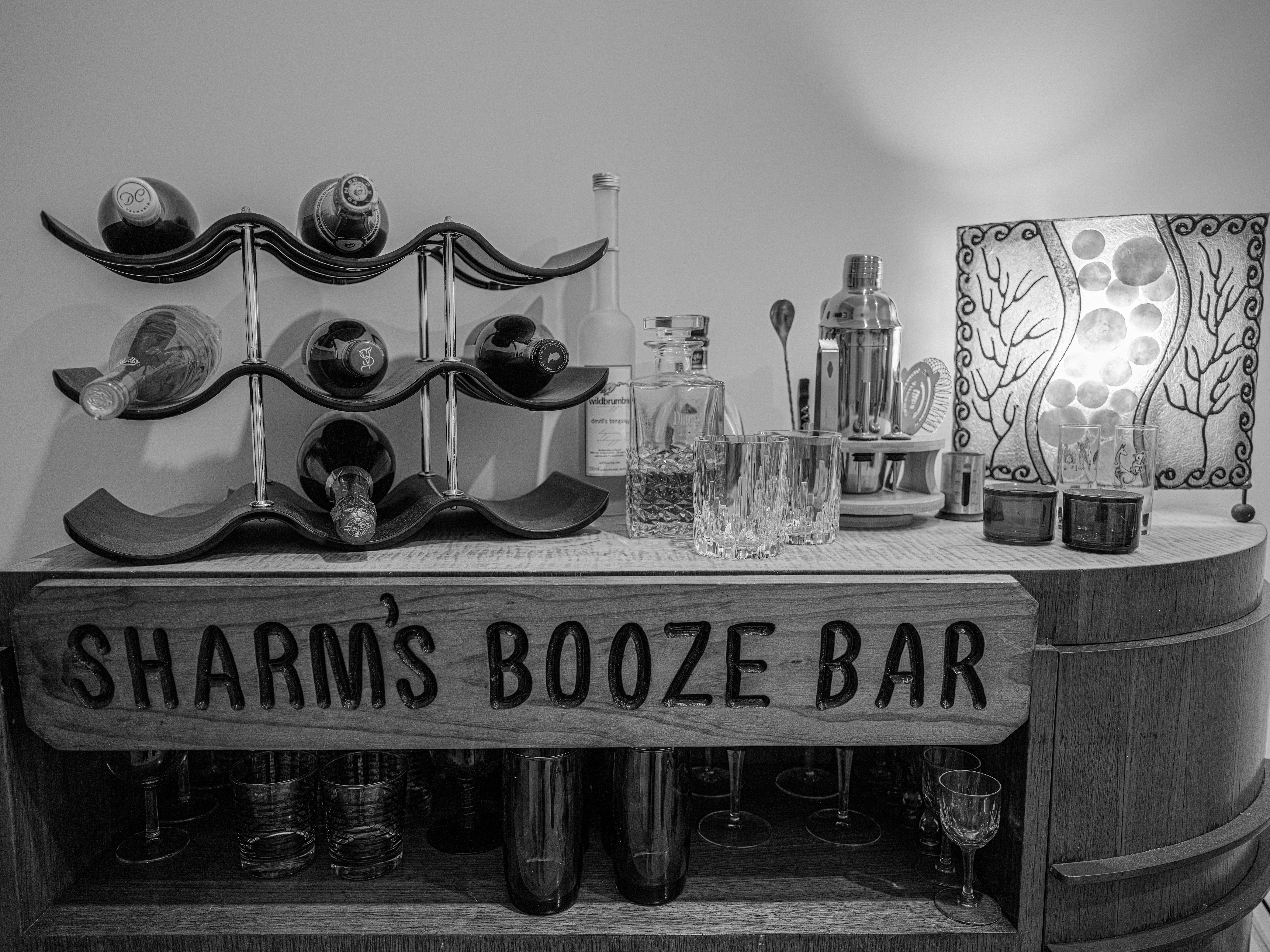 GFX50S II sample shot - black-and-white photo of a home bar
