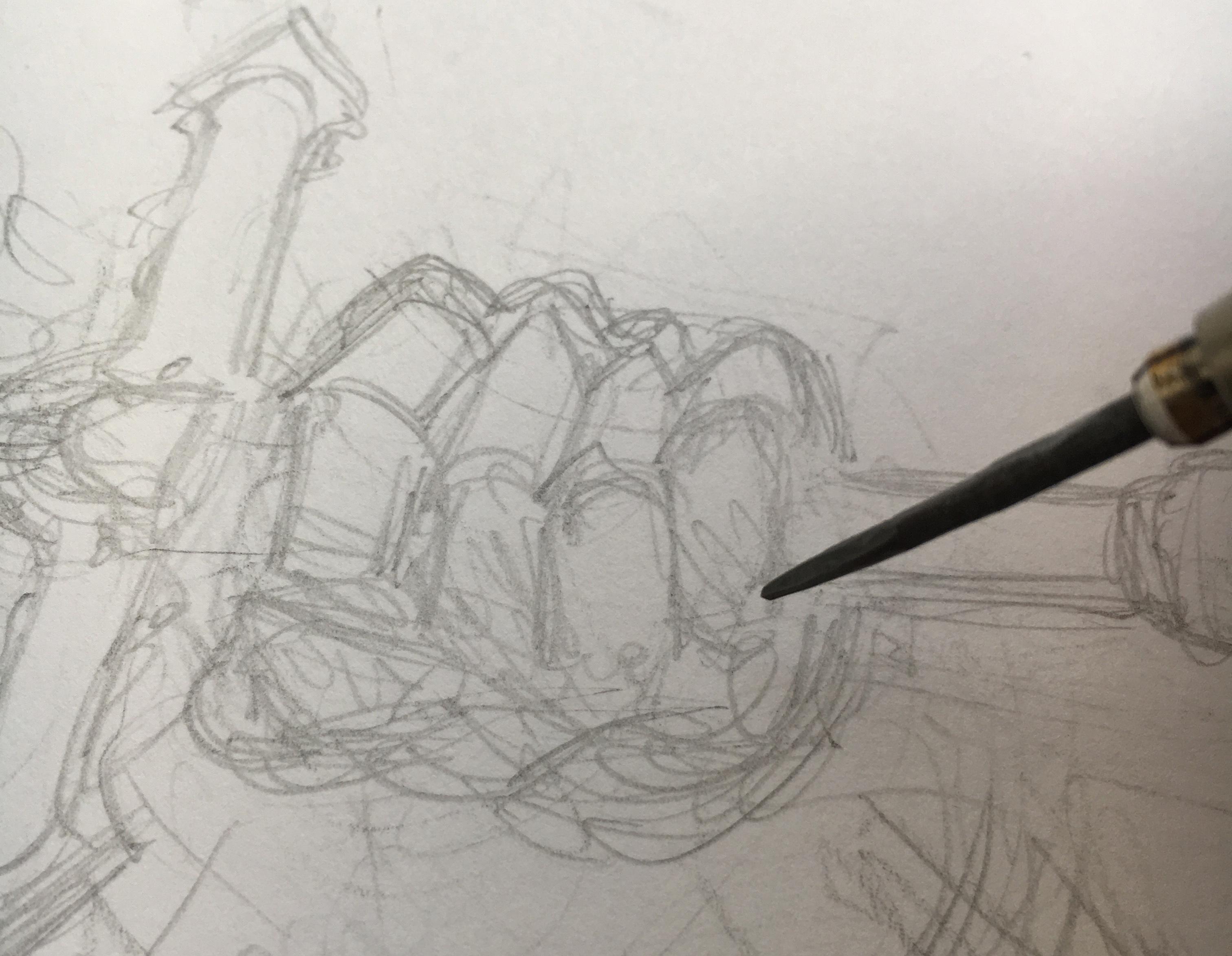 Pencil sketch of body armour