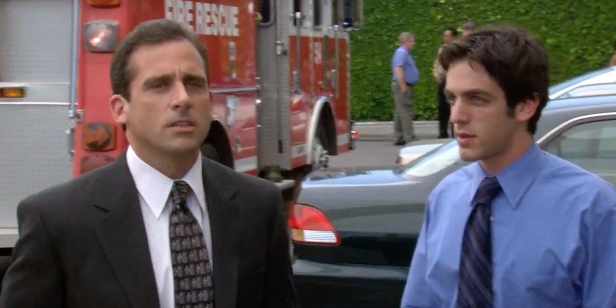 Steve Carell as Michael Scott and B.J. Novak as Ryan Howard in The Office