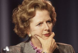 October 1985: British prime minister Margaret Thatcher looking pensive at the Conservative Party Conference in Blackpool.